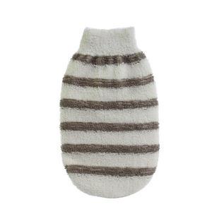 【a-liFe】無指沐浴手套-米黃色+灰色條紋  (現貨)
