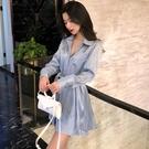 洋裝 秋夏季新款氣質光澤感洋裝系帶收腰長袖中長款襯衫裙子女裝  魔法鞋櫃