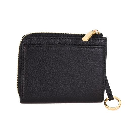 【TORY BURCH】Carter 金屬LOGO 荔枝皮革L型拉鏈鑰匙零錢包(001 黑色)