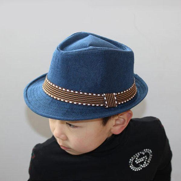 男童帽子 小禮帽 韓版亞麻禮帽 時尚兒童帽子 男女通用翻邊禮帽 草帽《小師妹》yp402