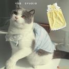 寵物狗狗貓咪衣服/冰淇淋格紋蕾絲吊帶/夏季透氣空調衫【小獅子】
