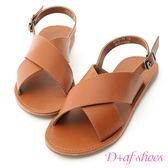 涼鞋 D+AF 隨性自在.寬版交叉平底涼鞋*棕