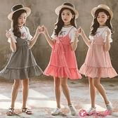 女童短袖洋裝 女童夏裝連身裙2021新款洋氣假兩件純棉格子薄款夏天短袖兒童裙子 小天使