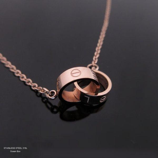 ☆§海洋盒子§☆love螺絲雙圈。一體成型鋼製玫瑰金項鍊