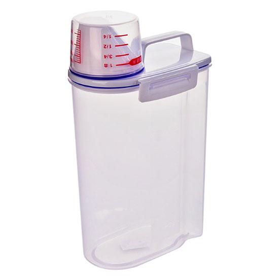 米桶 米箱 保鮮盒 收納罐 儲物罐 密封桶 帶蓋 防潮 米缸 乾糧 2000ml 量杯手提密封罐【M154-1】MY COLOR