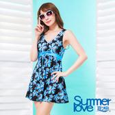 【夏之戀SUMMERLOVE】大女扶桑印花連身帶裙泳衣-加大碼-S17721