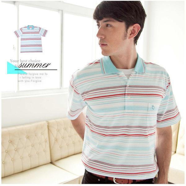 【大盤大】(P53671)男 夏 橫條紋POLO衫 短袖棉衫 有領口袋衫 透氣 88節 情人節禮物 有加大尺碼