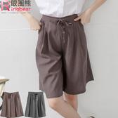 OL褲裙--復古時尚素面休閒蝴蝶結綁帶抓皺百摺褲裙(灰.咖XL-4L)-R140眼圈熊中大尺碼