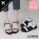 韓國空運 亮眼水鑽造型 後跟鬆緊帶設計 氣質楔型涼拖鞋【F713268】版型正常/SD韓美鞋