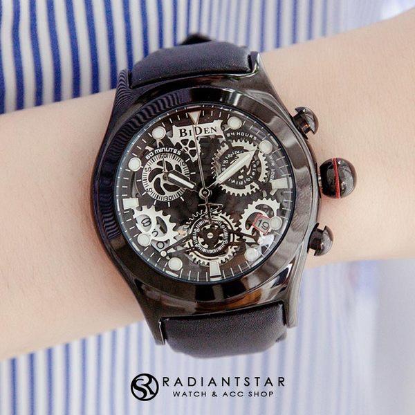 BIDEN率性真我凸面齒輪錶盤真三眼日期顯示真皮手錶【WBI0149】璀璨之星☆