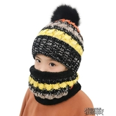 毛線帽子圍脖兩件套男女童加絨保暖加厚圍巾親子套頭帽潮 街頭布衣