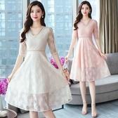 依Baby 洋裝 蕾絲連身裙女早春新款很仙的法國小眾夏款v領網紗米色紗裙夏