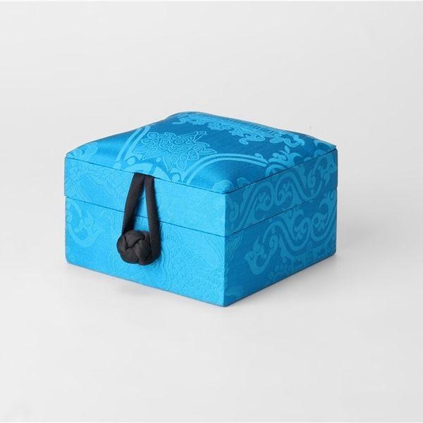 中式真絲萬壽緞木質珠寶戒指首飾手串手?收納盒