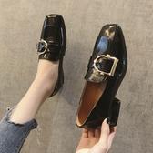 英倫鞋 ins黑色小皮鞋女秋季粗跟單鞋中跟方頭復古一腳蹬樂福鞋 快速出貨