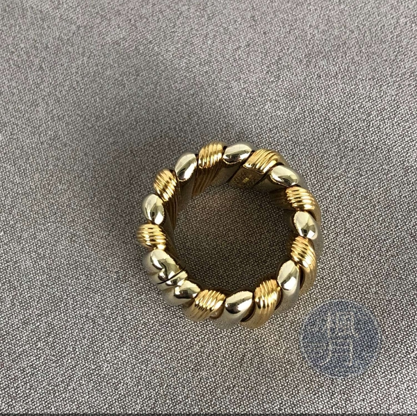 BRAND楓月 BVLGARI 寶格麗 黃/白K金 束條狀 寬版 銀金交錯 戒指 28G 戒指 配件 精品