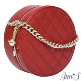 Ann'S小香風-頂級牛皮星球綴飾菱格立體小圓包-紅