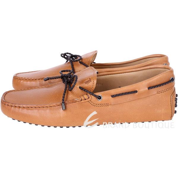 [ NG品 大放送 ]TOD'S Gommino Driving 駝棕色編織綁帶設計豆豆樂福鞋(男鞋) 7號 1490009-B3