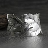 純銀手環(泰銀)-寬版葉子生日情人節禮物女手鐲73gg101【時尚巴黎】