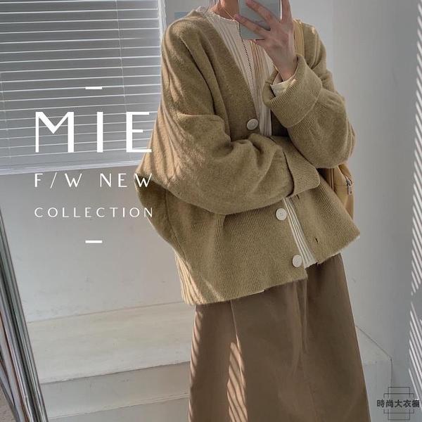 針織開衫外套加厚毛衣外套女素色秋冬【時尚大衣櫥】
