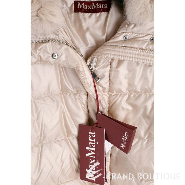 Max Mara 米白色皮草飾領羽絨外套 1710534-03