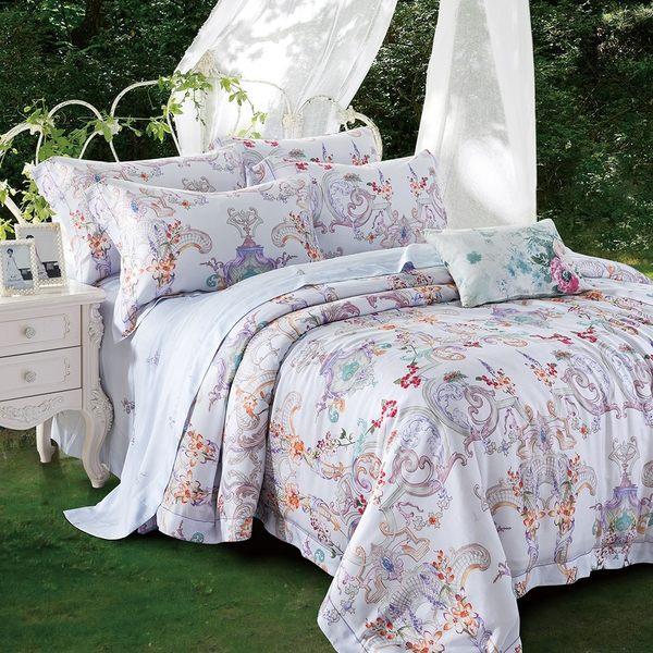 哇哇購 60支頂級天絲 四件式兩用被床包組 加大 空中花園