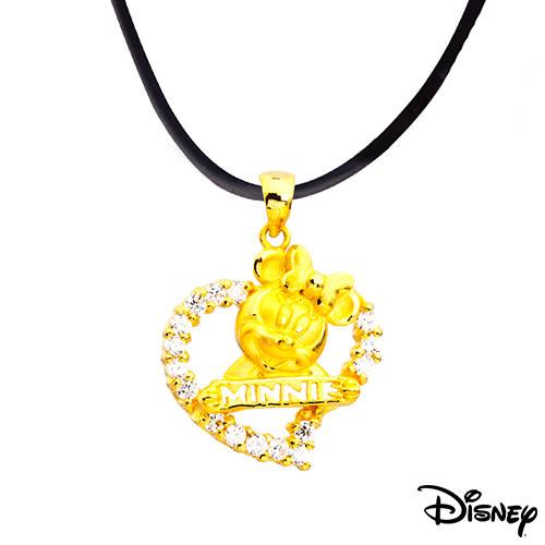 Disney迪士尼金飾 愛心美妮 黃金墜子 送項鍊