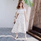 一字領 一字肩洋裝女中長款韓版很閒的小眾雪紡裙子清 萬寶屋
