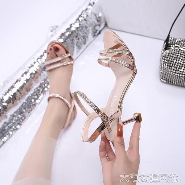 小碼高跟鞋水鉆涼鞋女仙女風夏季中跟露趾一字扣帶高跟鞋細跟小碼 快速出貨