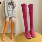 長靴 過膝秋款新款冬平底馬丁靴顯瘦網紅瘦瘦靴高筒靴小個子