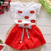 女童裝夏季新款韓版潮中大童兒童夏裝女裝夏款t恤褲子兩件套裝【卡米優品】