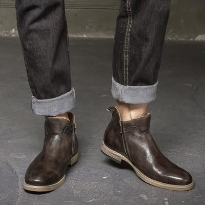 真皮中筒靴-側拉鍊時尚個性復古英倫男靴子2色73kk2[巴黎精品]