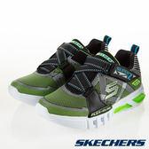 SKECHERS FLEX GLOW 黑綠 燈鞋 Z字型魔鬼氈 運動鞋 中大童 NO.R4188