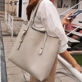 2019新款側背包女大包大容量簡約真皮托特包軟皮時尚百搭手提包女 蘭桂坊