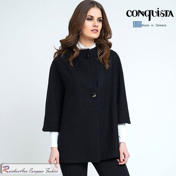 希臘品牌 CONQUISTA  黑色斗篷毛料外套 (中大尺碼服飾)