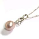 天然紫色圓珠與純銀絲帶吊墬項鍊...
