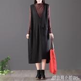 復古大口袋V領無袖寬鬆外套女中長款馬甲背心裙 格蘭小舖