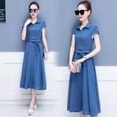 洋裝 休閒棉麻連身裙亞麻收腰氣質中長款韓版流行 週年慶降價