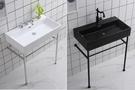 【麗室衛浴】Simpo Life 75CM單孔盆+不鏽鋼落地支架 白/消光黑 75*42*H90CM