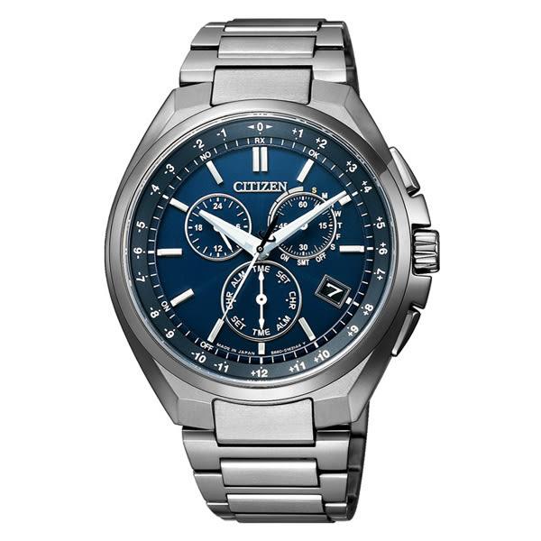 CITIZEN 光動能鈦金屬騎士魅力三眼腕錶-銀X藍