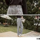 《BA4618》復古打褶後鬆緊雙釦格紋寬褲--適 XL~5L OrangeBear