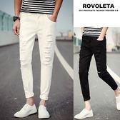 刷破九分素色牛仔褲【EV-102X40】(ROVOLETA)
