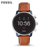 FOSSIL Q EXPLORIST HR 焦糖咖皮革觸控式螢幕智慧手錶 男
