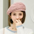 貝雷帽 貝雷帽女夏季薄款透氣復古八角帽日系百搭休閒褶皺蕾絲畫家帽子潮