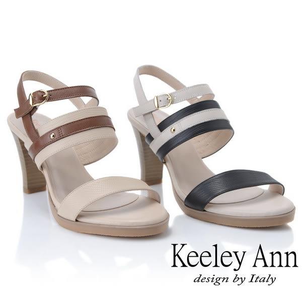 ★2019春夏★Keeley Ann簡約一字帶 MIT撞色拼接舒適高跟涼鞋(黑色)