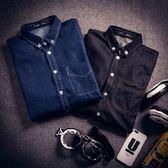 牛仔襯衫-歐美學院風時尚簡約流行男長袖單寧上衣2色71ae9[巴黎精品]