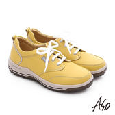A.S.O 3A全掌 真皮綁帶氣囊寬楦休閒鞋  黃