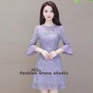 依Baby 早秋新款七分袖紫色蕾絲洋裝微胖時尚顯瘦A字裙