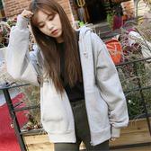 外套2018新品女加絨加厚連帽秋冬韓版學生寬鬆慵懶風外套開衫拉鏈