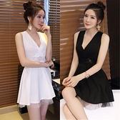 洋裝 小禮服 夜場女裝秋季新款深V領低胸蕾絲拼接透視露背修身顯瘦 無袖連身裙 韓風