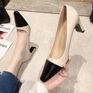 高跟鞋.小香風優雅皮革拼色方頭粗跟包鞋.白鳥麗子